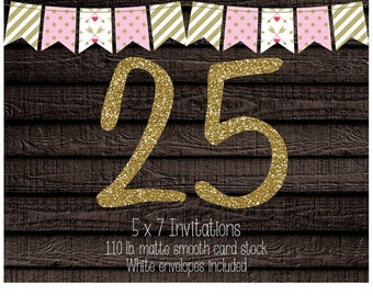 25 Professionally Printed Card Stock Invitations