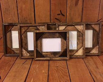 5x7  Western Picture Frame / Rustic Picture Frame  / Western Gift / with cowhide & barb wire.