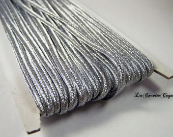 1 m braid metallic silver color viscose 3.5 mm