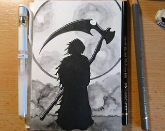 "Drawlloween original art ""Grim Reaper"" (postcard)"