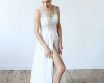 Panel Chiffon and Tulle Slit Beach Wedding Dress