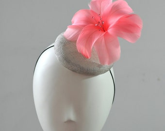 Peach Feather Flower Cocktail Hat Mini Hat Millinery Fascinator