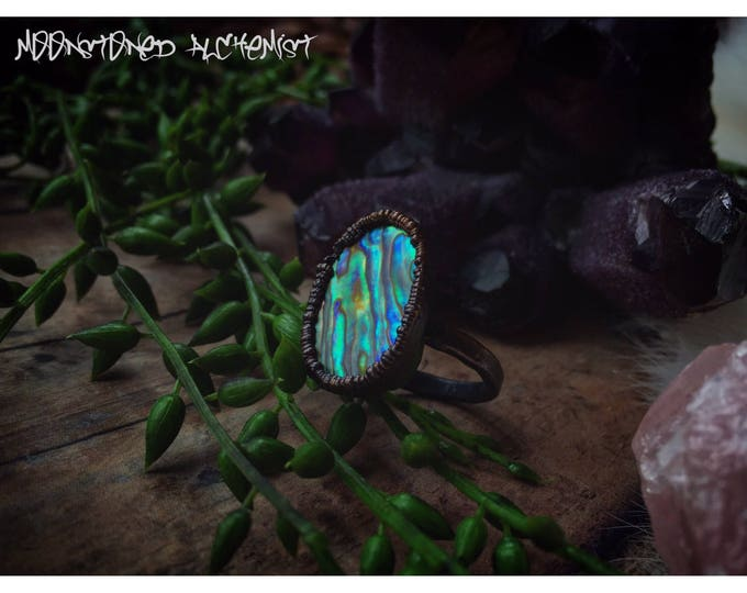 Lg Abalone Shell Ring - Mermaid Rainbow Sea Shell Ring - Pirate Treasure Abalone Sea Shell Ring