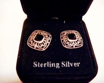 Vintage Sterling Silver Square Earrings with Rhinestones and Black Enamel