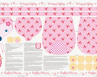 Riley Blake - Wildflower Meadow by Melly & Me Flower the happy hedgehog Purse Panel in Pink