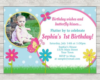 Butterfly Birthday Invitation, 1st Birthday Invitation - Digital File (Printing Services Available)