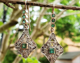 Art Deco Inspired 9ct Rose Gold Emerald & Diamond Lozenge Drop Earrings
