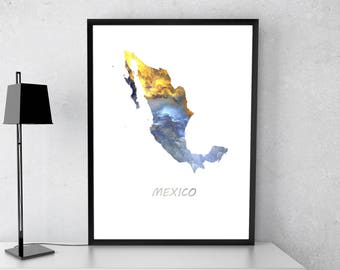 Mexico poster, Mexico kunst, Mexico kaart, Mexico afdrukken, gave print, Poster
