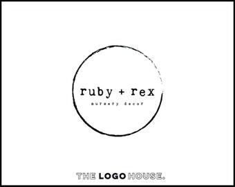 Modern Circle Logo, Distressed Logo Design, Typewriter Style Logo, Rustic Modern Logo, Boutique Brand Logo, Rustic Typewriter Font Logo