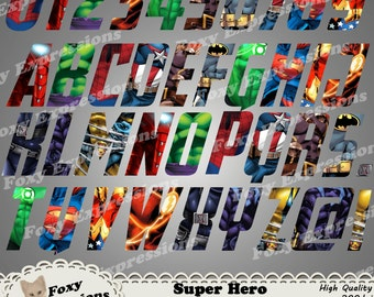 Super Hero Letters & Numbers clipart pack comes with 39 pieces. Includes Spiderman, IronMan, Hulk, Flash, Batman, Superman, Wolverine, etc.