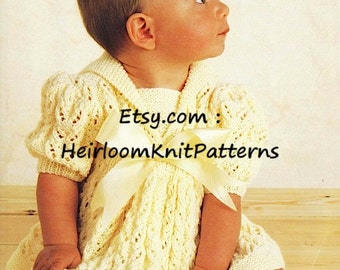 Vintage Baby Knitting Pattern Baby Girls Dress 16-22'' DK/ 8Ply Baby Dress Knitting Pattern Instant Download PDF - 811