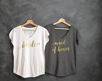 Bride shirt, Maid of Honor shirts, Gold V-neck, Bachelorette party shirts, Wedding day, Bridal Party, Bride Squad, Mother of the Bride Shirt