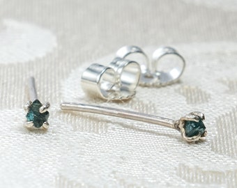 Tiny Blue Diamond Chip Stud Earrings - Rough Diamond Studs - Minimalist Jewelry - Tiny Studs - Raw Diamond Earrings - Gift for Daughter