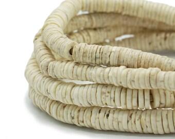 270 Heishi Ostrich Egg Shell African Trade Beads - Made in Kenya - Shell Bone Beads - Tribal Wholesale African Supplies (217-KEN-OST)
