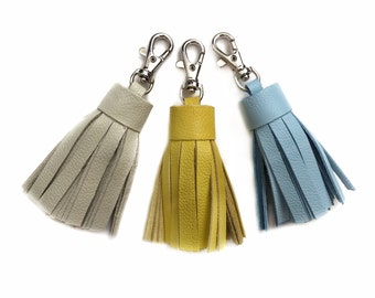 Small Leather Tassel | Handbag Accessory | Fringe | Cowhide Leather | Keychain | Keyfob | Handmade