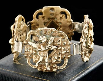 Antique Victorian 800 Sterling Silver French Cherub Fleur De Lis Bracelet | Vintage | 82.3 Grams | Gold Wash | Handmade | Royal Crest | Rare