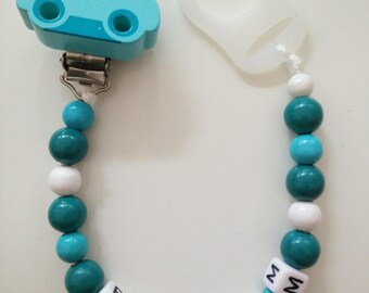 Pacifier clip turquoise car
