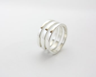 Sterling Silver reversible ring / wedding band / wedding / ring / silver / ring / wedding ring / modern ring / silver ring / large band