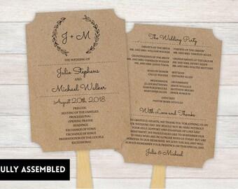 Wedding Fan, Wedding Program, Fans, Ceremony Program Fans, Wedding Keepsake Fans, wedding Fan, Custom Wedding Fans, chalk wreath