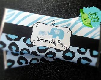 Elephant Safari Welcome Baby Boy Printable Candy Bar Wrappers