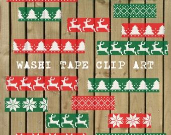 Digital Washi Tape, washi tape clipart, Christmas washi tape, washi tape scrapbook, fair isle washi tape, Christmas scrapbook, red, green