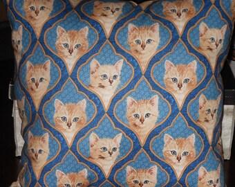 Beige Kitten Pillow, 14 X 14 Decorative Pillow