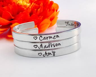 "Custom Bracelet stamped Aluminum, copper, brass Cuff Personalized Gift You Choose Letters Custom Bracelet - 1/4"" Wide - Bracelet - 16 fonts"