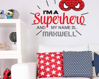 Personalised Spider-Man 'I'm a Superhero' Wall Art Sticker Decal Mural, Other Designs Available, Personalised with YOUR name