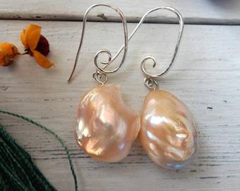 Large Baroque Pearl Earrings, Pearl Earrings, 17mm, Long fishhook, Sterling Silver