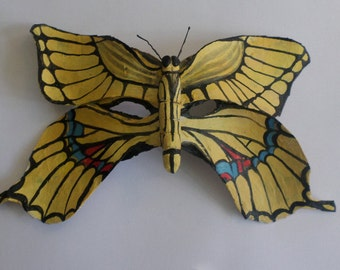 Butterfly Mask-Southwestern Tiger Swallowtail, yellow mask, half mask, insect mask, paper mache, wearable