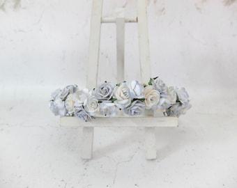 Dusty blue dainty flower crown - light blue wedding rose crown - floral hair wreath - headpiece - hair accessories - flower girls