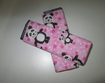 Protects strap, protects belt strap with belt/Panda flannel pink minky baby, child
