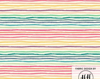 Crayon Lines Fabric by the Yard / Rainbow Fabric / Back to School Fabric Projects / Crafting Quilt Sewing Print in Yard & Fat Quarter