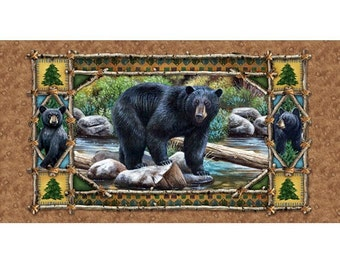 Black Bear Country 23972 Cotton Fabric Panel by Quilting Treasures! [Choose Your Cut Size]