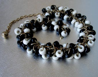 Groovy Black White Glass Beaded Necklace Vintage Costume Jewelry Chocker Chain Link Fringe Beads Cocktail Prom Stage Theater Retro Chic