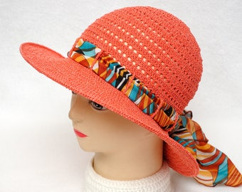 Sun Hat Crochet Summer Hat Beach Hat Womens Hats Gift for Her Brimmed Hat Classic Crochet Hat Orange Floppy hat Womens gift for girlfriend