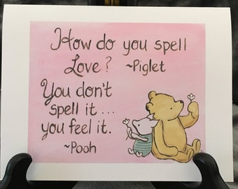 Classic pooh winnie the pooh greeting cards thinking of you friendship card classic pooh winnie the pooh love card i love you pooh quote spelling love baby shower valentine greeting card m4hsunfo