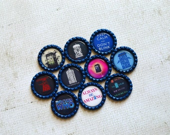 Doctor Who Bottlecap Magnets- Funny Doctor Who Gift- Dr. Who Magnets- Kitchen Magnets- Whovian- Tardis- Dalek- Police Box- Doctor Who Fan