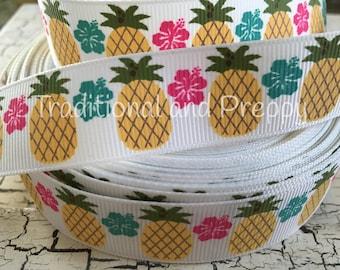 "7/8"" tropical preppy pineapple grosgrain ribbon"