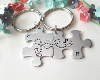 Boyfriend Girlfriend Keychains, Puzzle Keychains, Connected States, Couple Key Chains, Gift for Boyfriend, His and Hers, Couples Puzzle