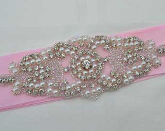 Bridal Sash-Rhinestone Crystal Pearl -Wedding Dress Belt-Pink Wedding Sash