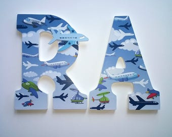 Airplanes, Transportation Themed Personalized, Custom Letters to Spell Name or Initials for Nursery or Boy's Room , Boy's Room Wall Art