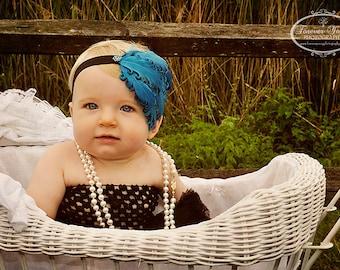 Baby Feather Headbands, Nagorie Feather Headbands, Aqua Headbands And Bows Baby Girl, Flapper Headband, Newborn Photo Prop, Baby Shower gift