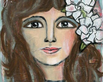 Portrait Art, Gardenias, Art for the Soul, Wall Art, Art Print, Courage and Art, Mixed Media, Collage Art, 8x10, Jackie Barragan
