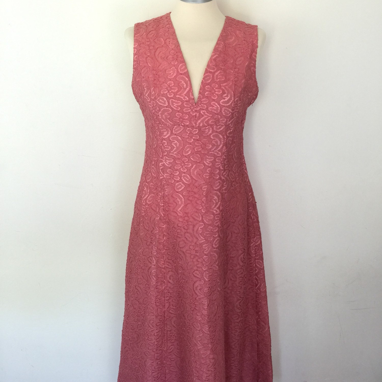 Vintage de encaje vestido vestido maxi encaje rosa oscura UK