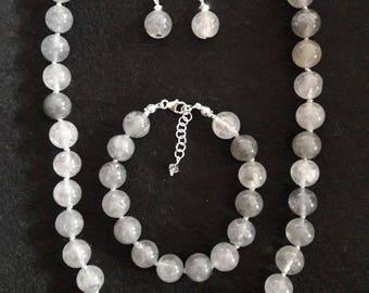 Necklace, bracelet and earrings Quartz Cloud (Gemstone)