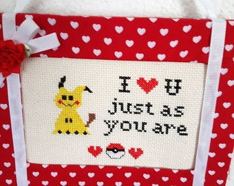PDF Pattern-Cross Stitch Pattern-Just as you are-Pokemon Inspired-Mimikyu Fan Art-Video Gamer Love-Geek Crafts-Valentine Gift-Wall Art-DIY
