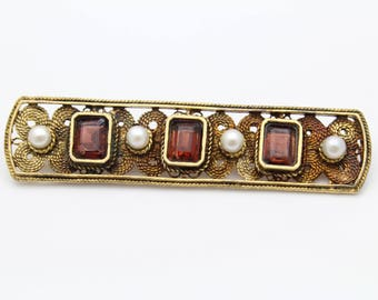 Antique Reproduction MFA Brooch in Garnet and Pearl and Sterling Silver. [11442]