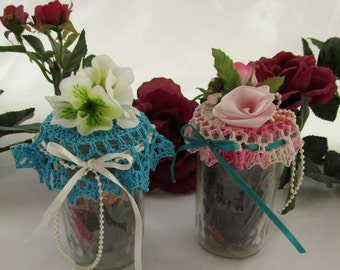 Set of Two Potpourri Jars Crocheted Toppers w/Potpourri Blue & Pink