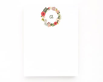 Monogram Notepad | Hand Lettered Floral Monogram Stationery Notepad : Blooming Wreath Monogrammed Notepad